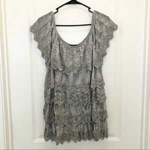White House Black Market Silver Tiered Blouse L